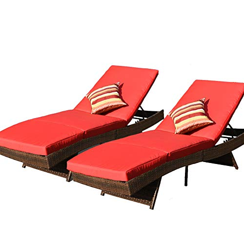 Sundale Outdoor 2PCS Deluxe Patio Adjustable Resin Wicker Chaise Lounge Chair Set with Cushions and 2 Throw Pillows (Red) (Chair Two's Hanging Company Rattan)