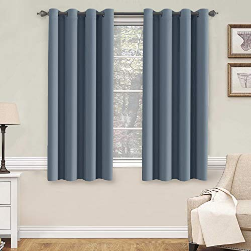 H.VERSAILTEX Soft and Smooth Blackout Window Curtain Panel,8 Grommets Drapes (Set of 2 Panels,52 by 63 - Inch,Stone Blue)