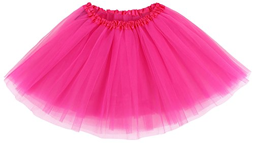 Simplicity Women's Classic Elastic, 3-Layered Tulle Tutu Skirt, Rose, One (Rose Pink Layered)