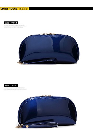 Party Bridal Bag Forkidlove Clutch Leather Patent TwinkNavyBlue Purse Woman Lady Scratchwallets Evening Small qRqzY4