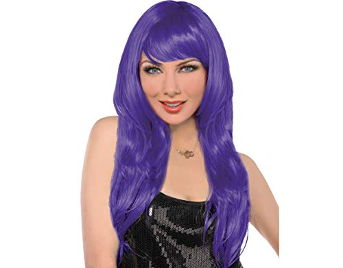 (Amscan Glamourous Party Wig Costume, Purple)