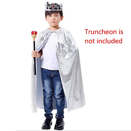 WasonD Halloween Prince Crown Adjustable + Cloak Costume Cosplay Accessories, Silver