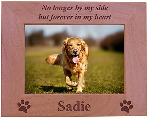 No Longer by My Side but Forever in My Heart - Custom Engraved Wood Dog Picture Frame Holds 5x7 Inch Photo - Add Your Dogs Name (5x7 ()