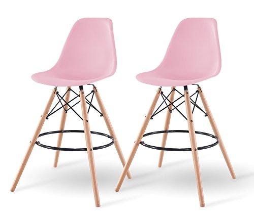 IRIS Mid-Century Modern Shell Barstool with Wood Eiffel Legs, 2 Pack, Ballerina Pink (Usa Stools Bar)