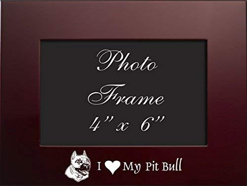 4x6 Brushed Metal Picture Frame-I love my Pit Bull-Burgundy
