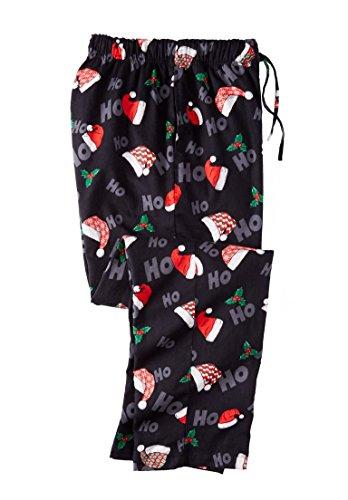 KingSize Men's Big & Tall Holiday Print Flannel Pajama Pants, Santa Hats (Mens Tall Pajama Pants)