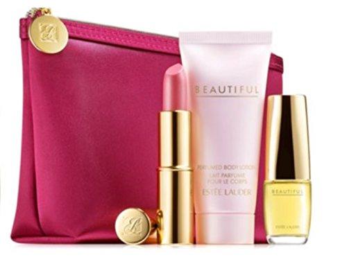 Estee Lauder beau parfum 4 Pcs Gift Set - Belle Eau De parfum Purse Spray (16 oz) + Body Lotion (1 oz) + Pure Color longue durée rouge à lèvres rose Parfait (.13 oz) + sac de cosmétiques