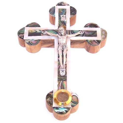 Small grade A Olive wood 14 Stations Crucifix with Mother of Pearls Layer on top ( 13.5 cm or 5.2 inches ) - Fourteen Stations Crucifix