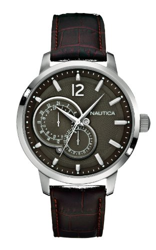 Nautica A15048G - Men's Watch, Leather, Color: marrone