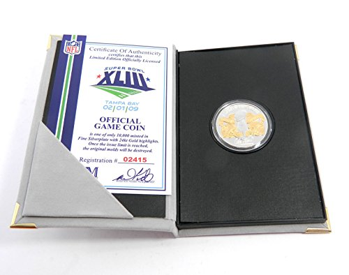 Highland Mint Super Bowl 43 Flip Coin Steelers Ony Troy Oz Silver Coin #/10,000 ()