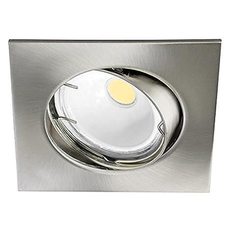 Wonderlamp Foco empotrable BASIC cuadrado níquel. Incluye portalámparas GU10. Ángulo basculación: 30º. Bombilla no incluida, 8 x 8 x 2 cm