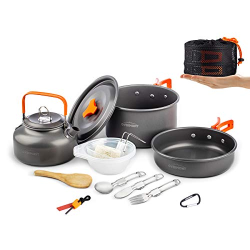 Overmont 15pc 1.95 Liter (Pot+ Kettle) Camping Cookware Mess Kit