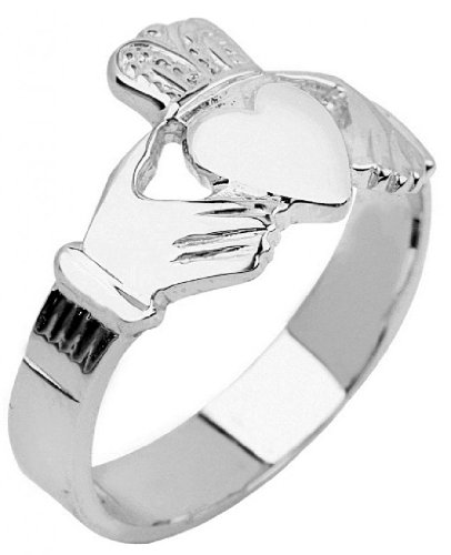 Men's Bold 14k White Gold High Polish Band Irish Claddagh Ring (Size 10.75)