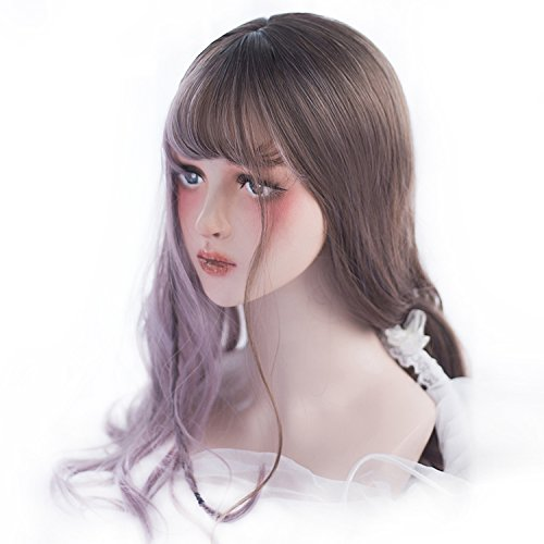 Cyy Halloween Party (Long Wavy Wig Highlights Bangs - Natural Synthetic Lolita Wig For Women and Girls Cosplay, Halloween, Party and Daily with Wig)
