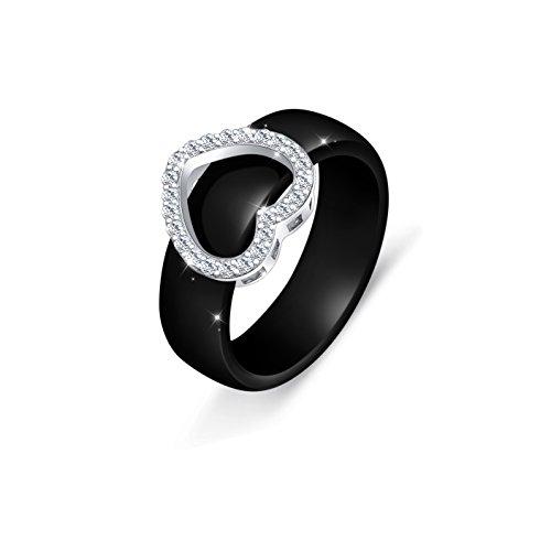 Ceramic S925 Sterling Silver Heart Wedding Engagement Black Rings for Bride Women
