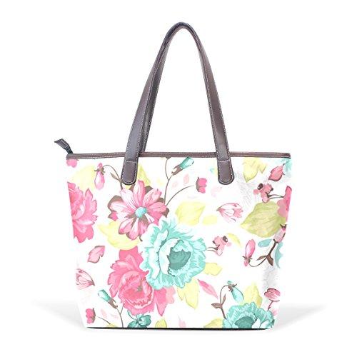 COOSUN Bolso asa grande bolsa de asas para mujer de acuarela Flores cuero de la PU M (40x29x9) cm muticolour