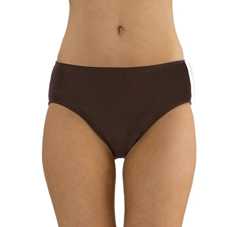 (MZ607) Mazu Swim Mid Waist Brief with Power Mesh Panel (8-16) in Brown Size: 16