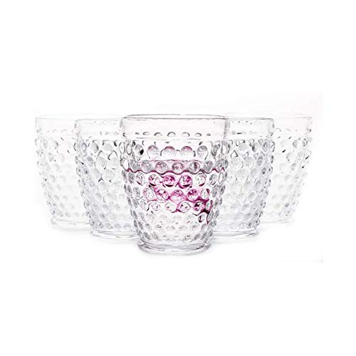 EVEREST GLOBAL Hobnail Old Fashion Iced Beverage Tumblers 10 oz. set of 6 Premiun Glass for Water Wine Soda Whiskey…