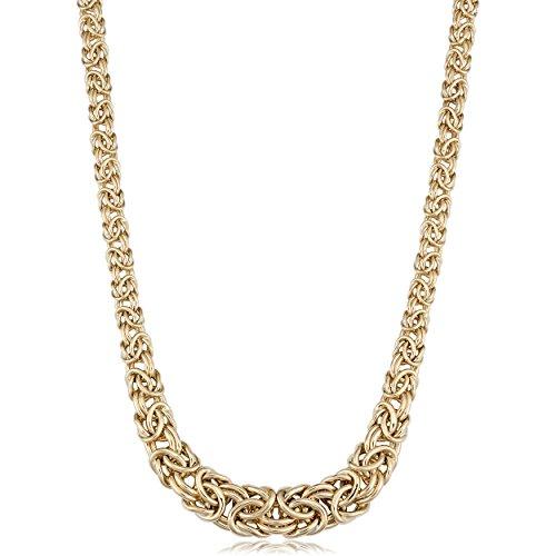 Kooljewelry 14k Yellow Gold Graduated Byzantine Necklace, 17.25 inch