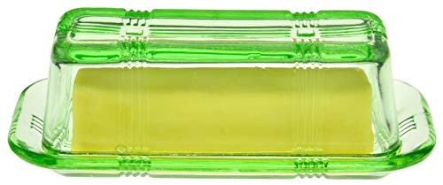 HOME-X Green Glass Butter Dish with Lid, Retro Kitchen Decor, Wedding Gift