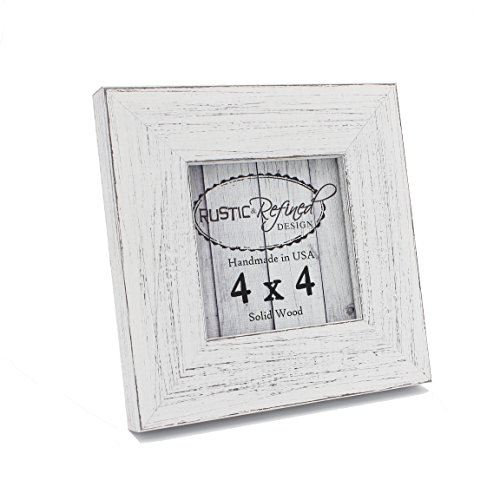 Rustic and Refined Design Country Colors Picture Frame - Solid Wood - Hand Made in USA (Marshmallow White, 4x4) ()