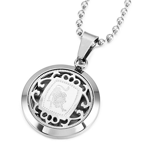 Memediy Silver Tone Stainless Steel Pendant Necklace Leo Horoscope Zodiac  Come With Chain   Customized Engraving