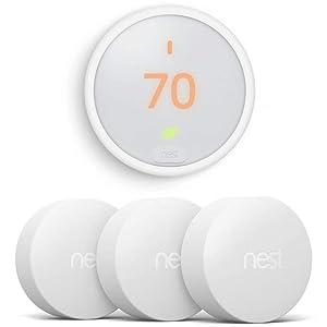 Google Nest Thermostat E (White) T4000ES w 3 Nest Temperature Sensors (T5000SF)