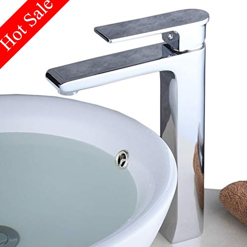Contemporary Single Handle Tall Vessel Sink Bathroom Faucet, Lavatory Basin Mixer Tap,Chrome