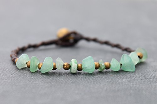 - Jade Woven Bracelets Beaded Simple Dainty Raw Brass Beads Spiral Natural Eco Friendly Boho Hipster