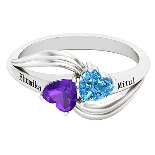 Personalized Simulated Birthstone Rings For Couple Custom Engraved Names Promise Lover Rings For Women (silver-plated-base 10.5)