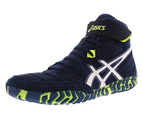 ASICS Men's Aggressor 2 Wrestling Shoe, EST Blue/White/Flash Yellow, 10.5 M US