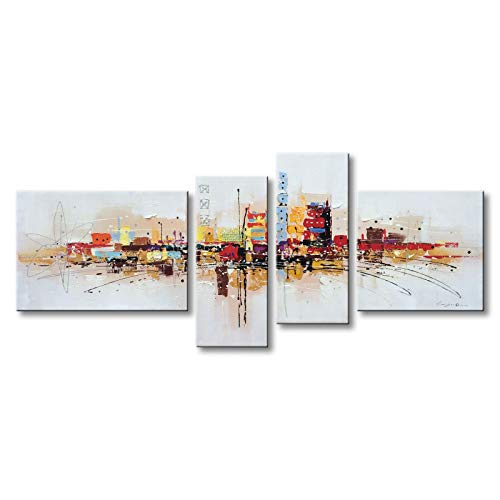 Handmade Abstract Oil Painting Canvas - Winpeak Art Framed Handmade Abstract Huge Oil Painting Canvas Wall Art Hanging Modern Contemporary Cityscape Large Artwork Home Decoration Stretched Ready to Hang 84