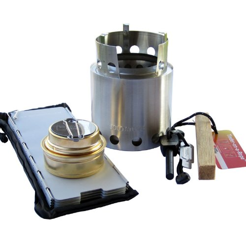 Solo Stove with Windscreen, Alcohol Stove, Fire Steel, Tinder (2 Set of Each Item Bulk Pack). Great for Emergency Stove, Camping Stove, Ultralight Backpacking