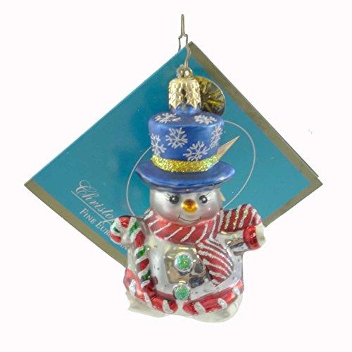 Christopher Radko SNOW FUN SNOWMAN GEM Glass Ornament Christmas Poland