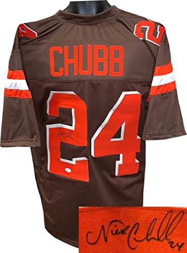 hot sale online c96c8 60365 Autographed Nick Chubb Jersey - Brown Custom Stitched Pro ...