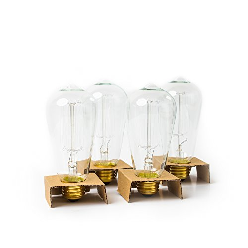 Edison Bulb Pack of 4 by Brillante - 360 Lumen/60W Clear Glass Light Bulbs with Antique/Vintage Thomas Edison Style Filament - For Pendant Lighting, Lamps & String Lights