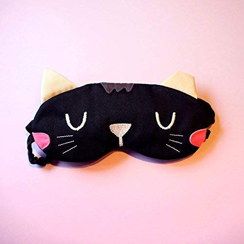 Black Witch Cat Eye Cover Sleeping Mask, Useful Unisex Flight Travel Blindfold Unique Gifts Cosplay Style -