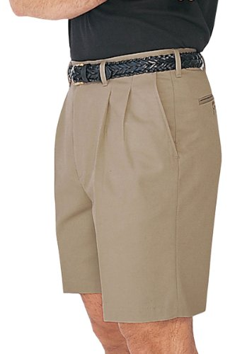Pleated Chino Shorts - Ed Garments Men's Casual Pleated Front Chino Short, TAN, 30