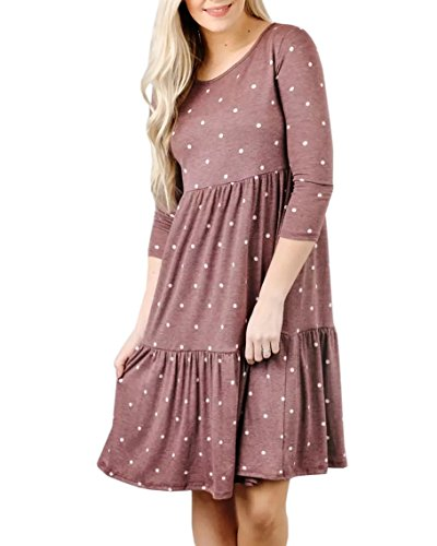 Polka Empire Cymbopogon Dot 4 3 Womens Dresses Dress Loose Sleeve Waist Pleated MiDi Pink Fitting Aqwf05qr