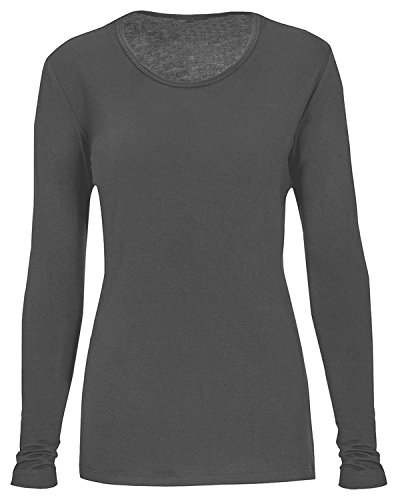 T-Flex Womens Comfort Long Sleeve T-Shirt, Charcoal, L (Tee Layering Pro)