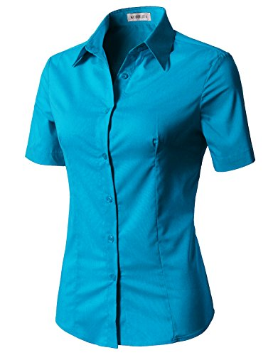 CLOVERY Women's Tailored Short Sleeve Slim Fit Button Down Shirt Turquoise S
