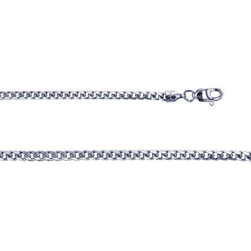 14K White Gold 2.76mm 20'' Solid Franco 080 Chain by Decadence