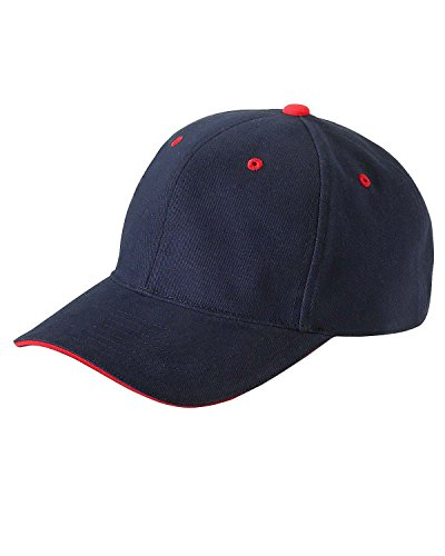 Yupoong Brushed Cotton Twill 6-Panel Mid-Profile Sandwich Cap (6262S)- NAVY/RED, (Panel Mid Profile Sandwich Cap)