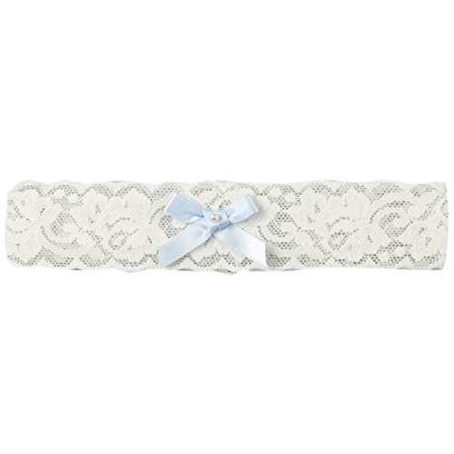 David's Bridal Blue Bow and Pearl Vintage Lace Garter Style DB1025, Ivory