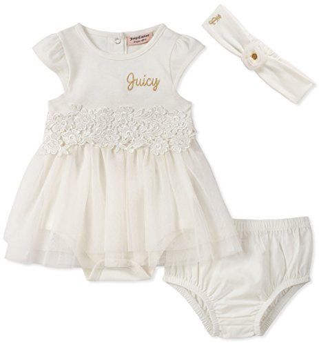 (Juicy Couture Baby Girls Tutu Bodysuit with Headband, Silent Vanilla/Gold, 6-9 Months)