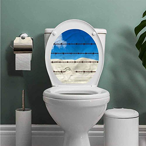 ThinkingPower Barbed Wire Toilet Seat Tattoo Cover Security Guard Motif Vinyl Bathroom Decor W13XL13 INCH