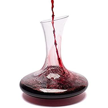 Red Wine Decanter By Bella Vino - Improves Wine Taste By Softening Tannins - Great Table Centerpiece - Elegant and Effective - Made From 100% Lead Free Premium Crystal Glass - Fits 1000ml Bottle