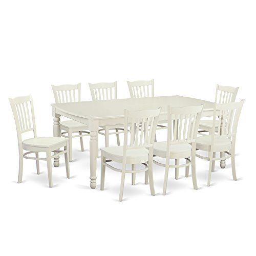 East West Furniture DOGR9-LWH-W 9 Piece Dining Room Table and 8 Kitchen Nook Chairs (Piece Dining Set 9 White)