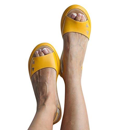 Cenglings Women's Casual Peep Toe Flats Shoes Slip On Shallow Shoes Slingback Platform Sandals Flatform Party Dress Sandals - Stiletto Heel 5 High Inch 3/4