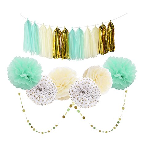 Mint Cream Gold and White 20pcs Party Decoration Set by Cherry Down